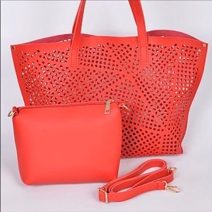 Red Laser Cut Tote With Pouch